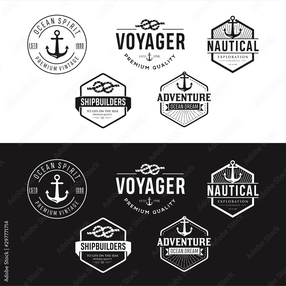 Fototapety, obrazy: Set Of Nautical Logos, Badges And Labels Royalty Free Cliparts, Vectors, And Stock Illustration . Vintage Nautical Logo