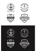 Set Of Nautical Logo Badges And Labels Royalty Free Cliparts, Vectors, And Stock Illustration . Vintage Marine Nautical Logo Rope Hipster Retro