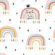 Seamless abstract pattern with hand drawn rainbows and rain drops. Cute kawaii bow princess character. Creative scandinavian childish background for fabric, wrapping, textile, wallpaper, apparel