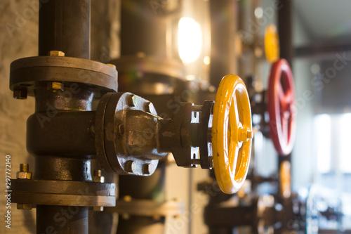 Foto auf AluDibond Bier / Apfelwein Pressure gage in the pipeline,measuring water pressure.pipe and valves