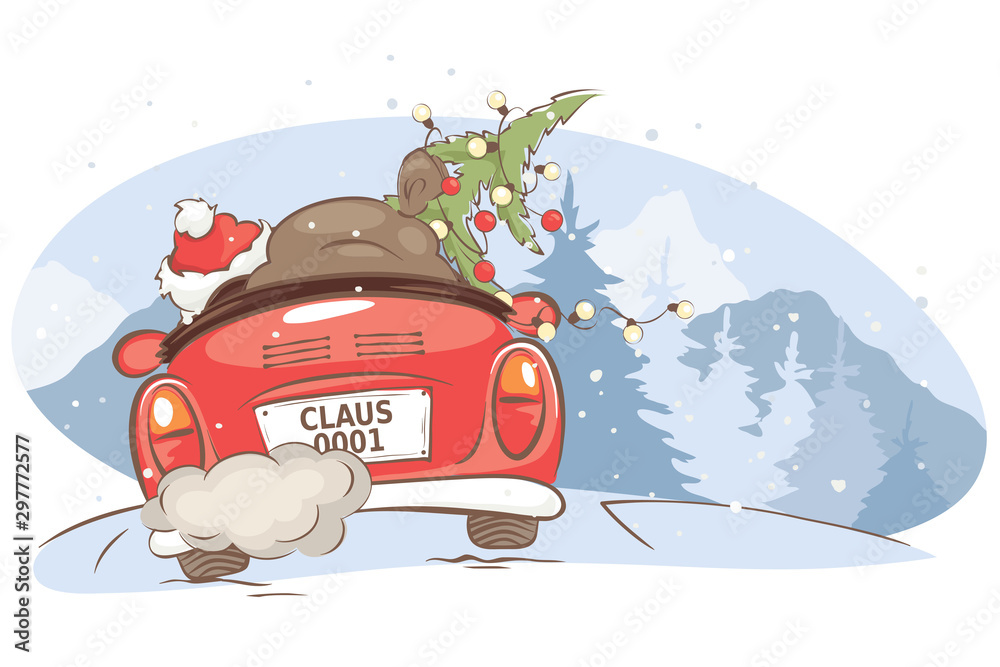 Fototapeta Santa hurries to bring gifts. Christmas card. grandfather with a bag and a Christmas tree in a convertible car, vector illustration.