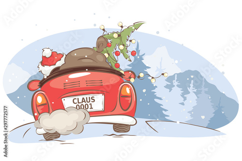 Obraz Santa hurries to bring gifts. Christmas card. grandfather with a bag and a Christmas tree in a convertible car, vector illustration. - fototapety do salonu