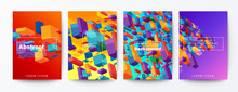 Set Of Abstract Colorful Flying Block Particle On Gradient Background. Trendy Futuristic Background For Brochure, Flyer, Poster, Leaflet, Report, Book Cover, Banner, Presentation, Website, Wallpaper.