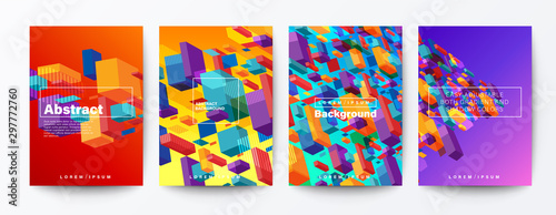 Fototapeta Set of abstract colorful flying block particle on gradient background. trendy futuristic background for Brochure, Flyer, Poster, leaflet, Report, Book cover, Banner, Presentation, Website, wallpaper. obraz