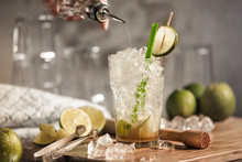 A Glass Of Caipirinha On A Woo...
