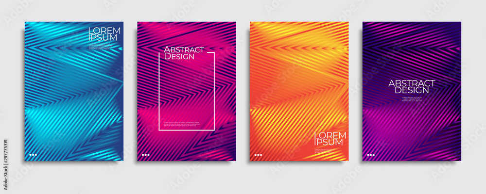 Fototapeta Brochure cover templates set. Minimal colorful gradient abstract background. A4 eps10 vector.