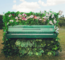 Old Piano In Beautiful Flowers