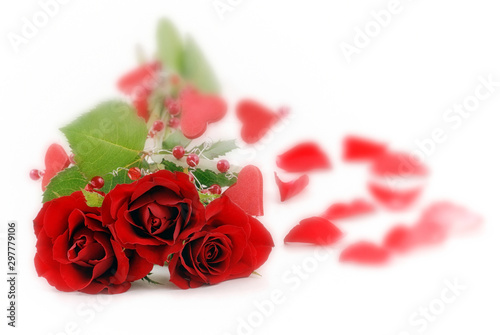 Valentine's Day background.  Flower  composition. Red roses and heart. White background with petals. Copy space.