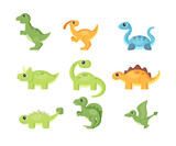 Fototapeta Dinusie - Funny dinosaurs vector collection in cartoon style on white background
