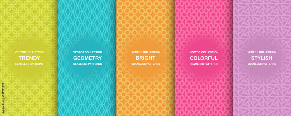 Fototapeta Collection of colorful geometric simple seamless patterns - bright symmetric textures. Vector repeatable minimalistic backgrounds