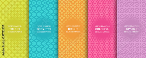 fototapeta na lodówkę Collection of colorful geometric simple seamless patterns - bright symmetric textures. Vector repeatable minimalistic backgrounds