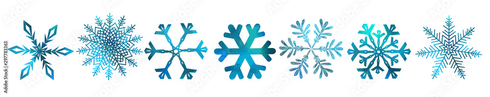 Fototapeta A set of colorful snowflakes. Vector illustration