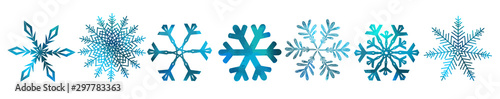 Obraz A set of colorful snowflakes. Vector illustration - fototapety do salonu