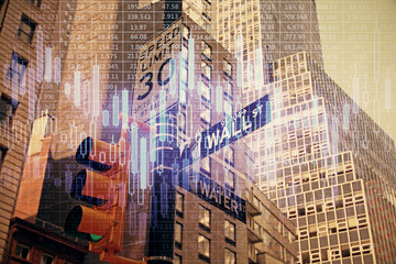 Fototapeta Abstrakcja Forex chart on cityscape with tall buildings background multi exposure. Financial research concept.
