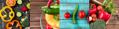 collage of various fresh and colorful vegetables on wooden table
