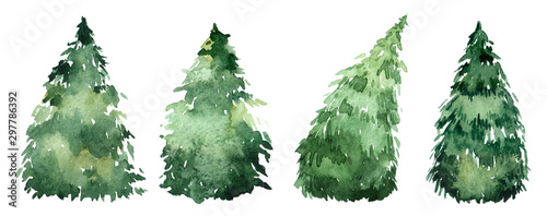 Fényképezés  Set of watercolor christmas trees, hand drawn on a white background