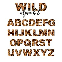 Vector Capital Letter Alphabet With Wild Leopard Skin Print Isolated On White Background. Letters Of Alphabet Of African Wild Animal Realistic Skin. 3 D Font For Logo, Print, Posters, Invitation.