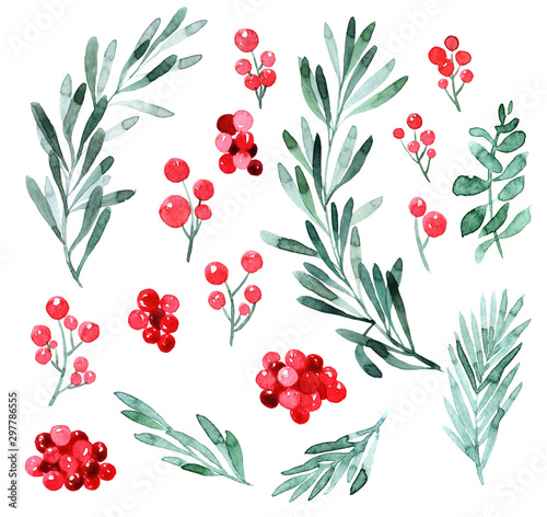 Leinwand Poster Watercolor Christmas tree, holly and poinsettia