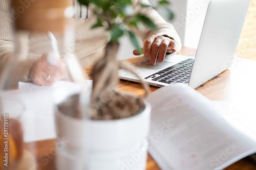 Pinturas sobre lienzo  Mann arbeitet zuhause an einem Laptop