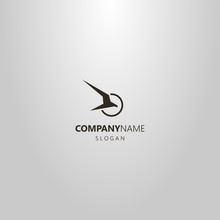 Black And White Simple Vector Abstract Logo Of An Attacking Bird Of Prey In A Round Frame