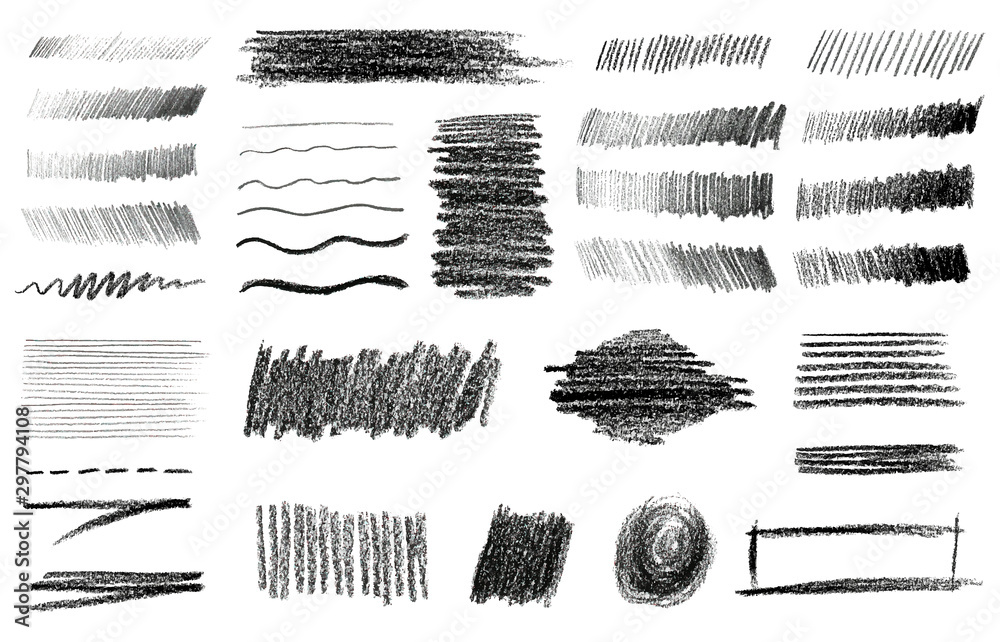 Fototapety, obrazy: Charcoal and Graphite Pencil Art Brushes Vector Set.