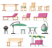 Garden Furniture Vector Table Chair Seat Charcoal-grill On Terrace Design Outdoor In Summer Backyard Outside Illustration Gardening Relaxation Set Of Furnished Armchair Isolated On White Background