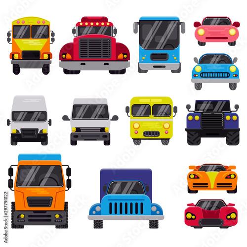 Obraz na plátne Car vector front view auto delivery transport offroad automobile vehicle illustr