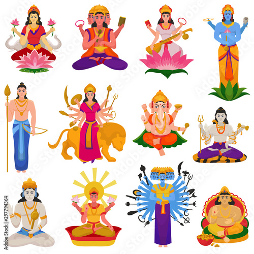 Fotografie, Obraz Indian god vector hindu godhead of goddess character and hinduism godlike idol G