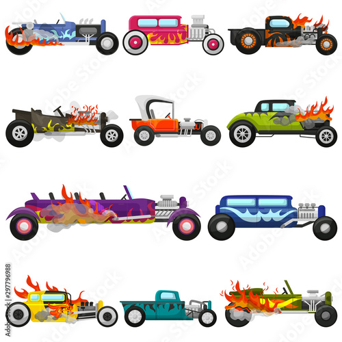 Stampa su Tela Hot rods car vector muscle racing speedcar on a track and retro race auto drivin
