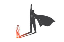 Personal Development, Leadership, Ambition Concept Sketch. Hand Drawn Isolated Vector