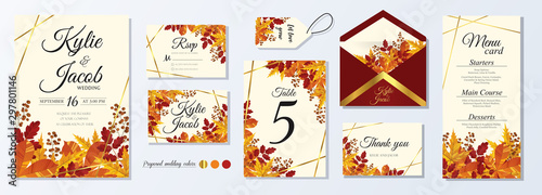 Wedding Invitation, menu, rsvp, label, table number, envelope. Leafy design autumn foliage collection. oak, maple, chestnut and ash. Decorative frame print. Vector elegant cute rustic greeting, invite