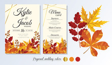 Wedding Invitation, Menu Card. Leaves Design Autumn Foliage Collection Oak, Maple, Chestnut And Ash. Decorative Frame Print. Vector Elegant Cute Rustic Greeting, Invite Postcard.