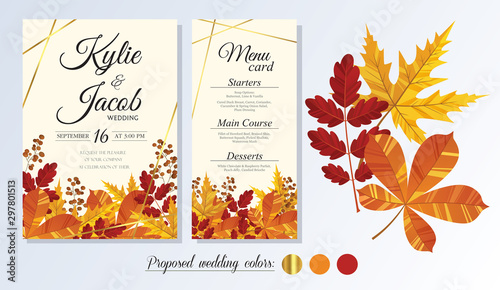 Obraz Wedding Invitation, menu card. Leaves design autumn foliage collection oak, maple, chestnut and ash. Decorative frame print. Vector elegant cute rustic greeting, invite postcard. - fototapety do salonu