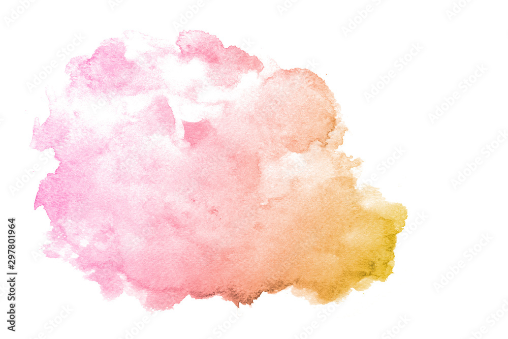 Fototapety, obrazy: Modern pink and orange. Pink Orange mixed on white background. Abstract minimalist painting. Abstract watercolor brush illustration. Contemporary watercolor background.