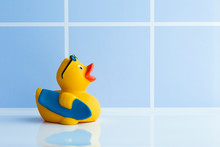 Yellow Rubber Duck With Surfbo...