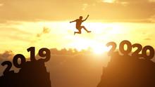 Silhouette Man Jump Between 20...