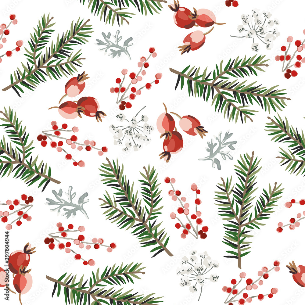 Fototapety, obrazy: Christmas seamless pattern, red berries, green fir twigs, white background. Vector illustration. Nature design. Season greeting. Winter Xmas holidays