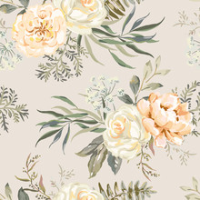 Rose, Peony Flowers With Leaves Bouquets, Beige Background. Floral Illustration. Vector Seamless Pattern. Botanical Design. Nature Summer Plants. Romantic Wedding