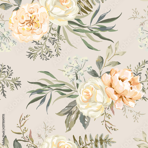 Tapety Beżowe rose-peony-flowers-with-leaves-bouquets-beige-background-floral-illustration-vector-seamless-pattern-botanical-design-nature-summer-plants-romantic-wedding