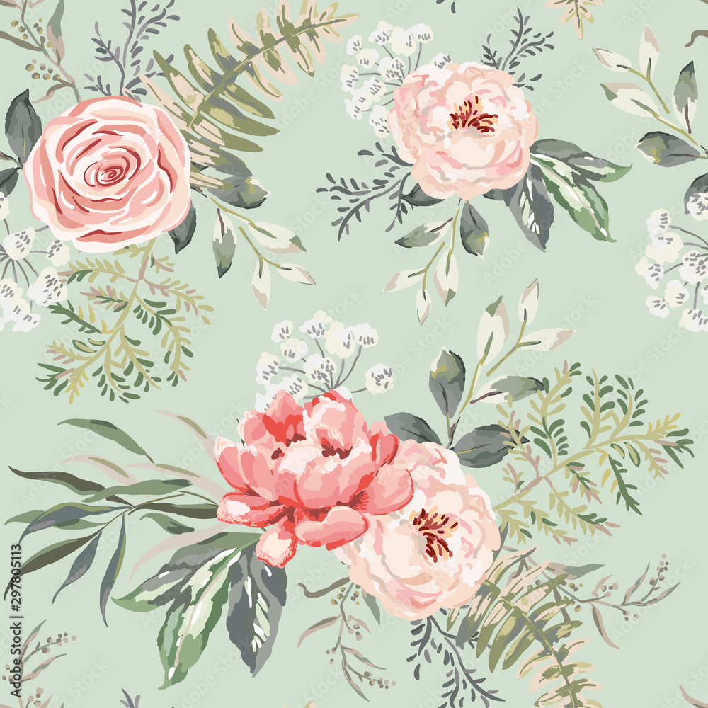 Fototapeta Pink rose, peony flowers with leaves bouquets, green background. Floral illustration. Vector seamless pattern. Botanical design. Nature summer plants. Romantic wedding