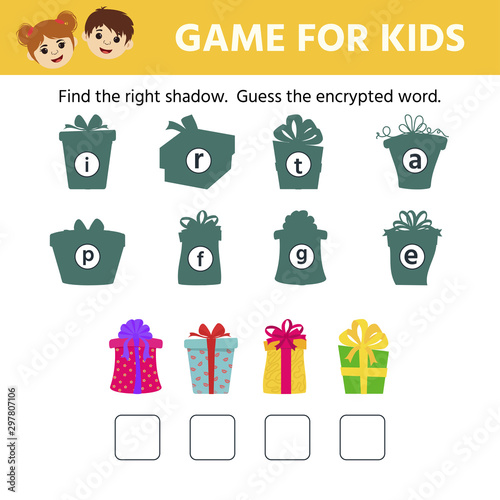 Fototapety, obrazy: Games for children. Educational worksheet for kids. Find the right shadow.  Guess the encrypted word. Christmas gifts