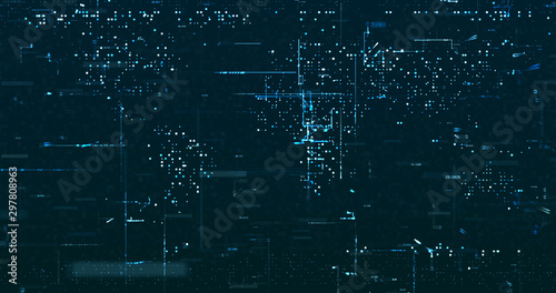 Canvastavla  Abstract grid shape background. 3D rendering
