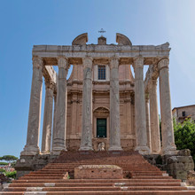 Rome Italy, Antoninus And Faustina Ancient Temple (now St.Luca Church) Facade Under Blue Sky