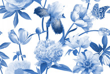 Floral Seamless Pattern. Beautiful Garden Flowers And Butterflies. Blooming Peonies, Irises And Tulips. Blue And White. Vintage Illustration. Background To Create Paper, Wallpaper, Summer Textile.