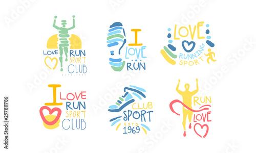 Fotografija  Running Sport Club Logo Set, I Love Run Retro Hand Drawn Labels Vector Illustrat