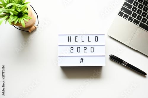 Fotografie, Obraz  HELLO 2020 Business Concept ,minimal style