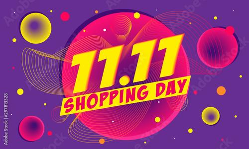 11.11 Shopping day sale poster or flyer design, vector illustration