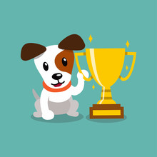 Vector Cartoon Character Jack Russell Terrier Dog Holding Gold Trophy Cup Award For Design.