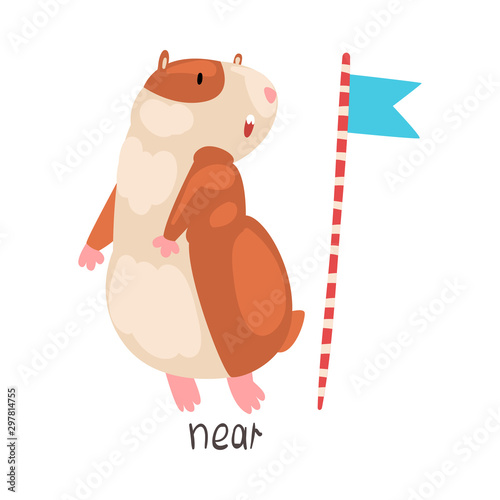 Near English Language Preposition of Place and Cute Hamster Character, Educational Visual Material for Children Education Vector Illustration