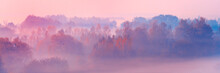 Banner 3:1. Close-up Scenic Foggy Autumn Landscape At Sunrise. Aerial View On Countryside. Colorful Autumnal Background. Soft Focus